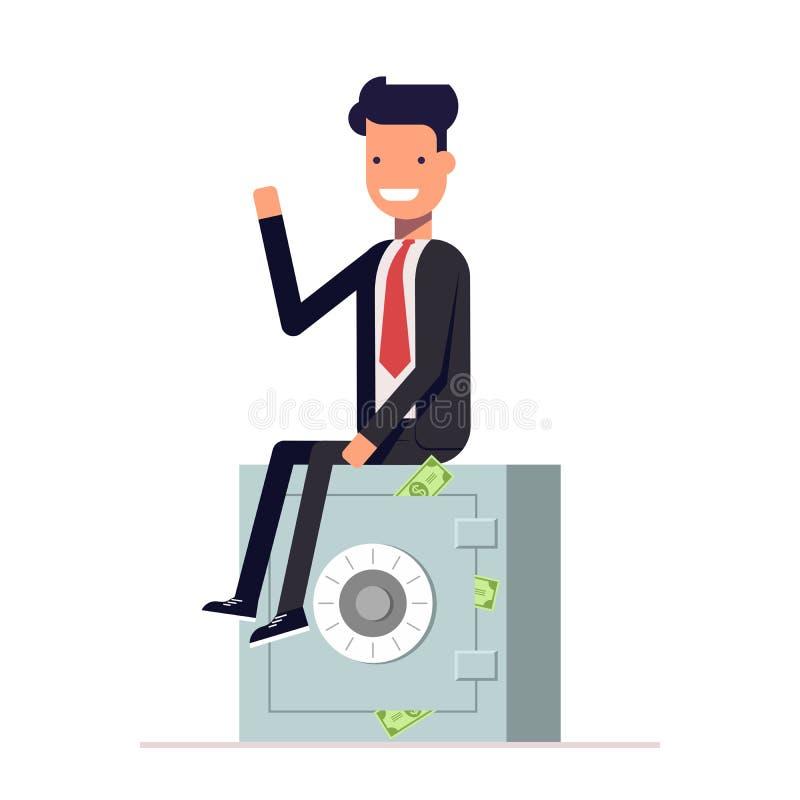 L'uomo d'affari o il responsabile si siede su una cassaforte privata Stoccaggio di soldi Vettore, illustrazione EPS10 illustrazione vettoriale