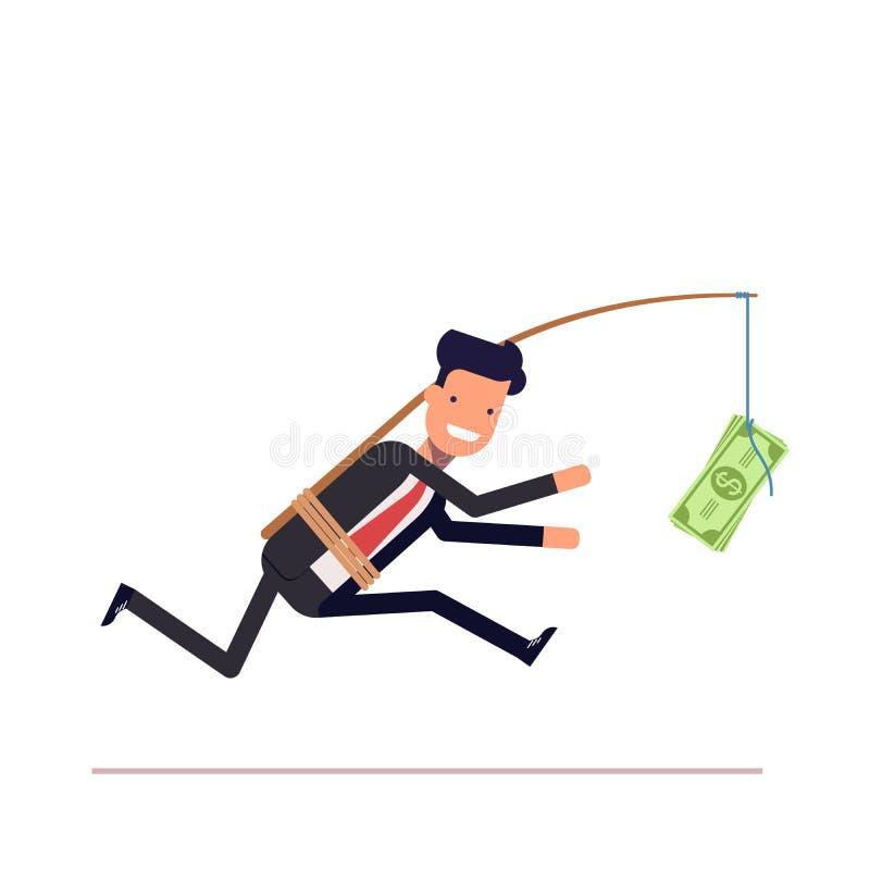 L'uomo d'affari o il responsabile sta correndo dopo i soldi Uomo avido in un vestito illustrazione di stock