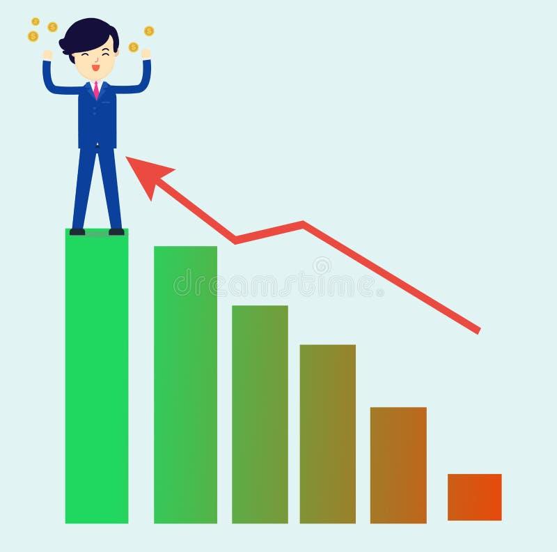 L'uomo d'affari ottiene i soldi con riuscito del vettore di investimento illustrazione di stock