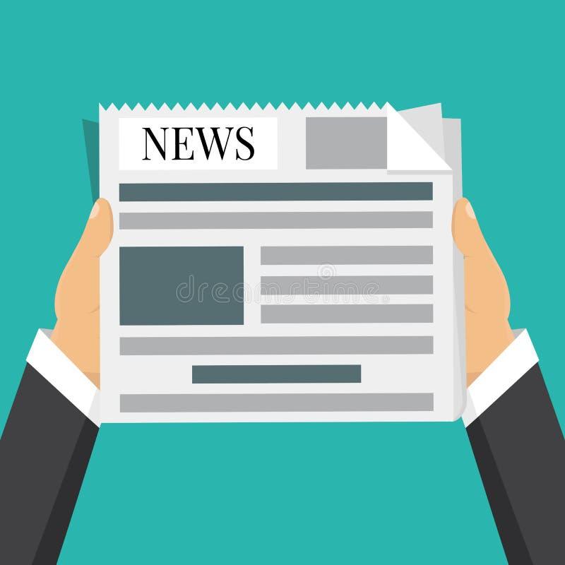 L'uomo d'affari passa il giornale della tenuta Parole di notizie, pausa caffè illustrazione vettoriale