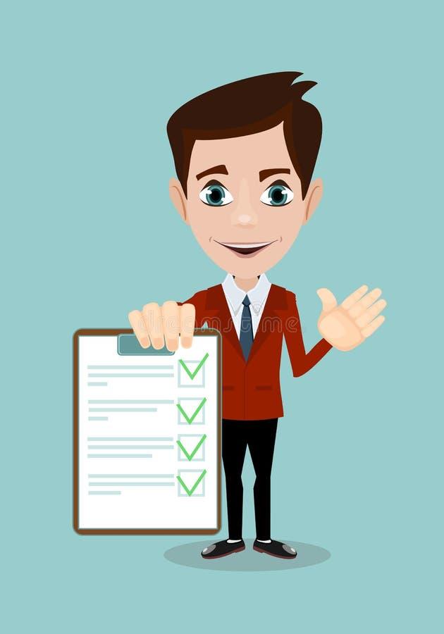L'uomo d'affari passa la lista di controllo della lavagna per appunti della tenuta in una progettazione piana royalty illustrazione gratis