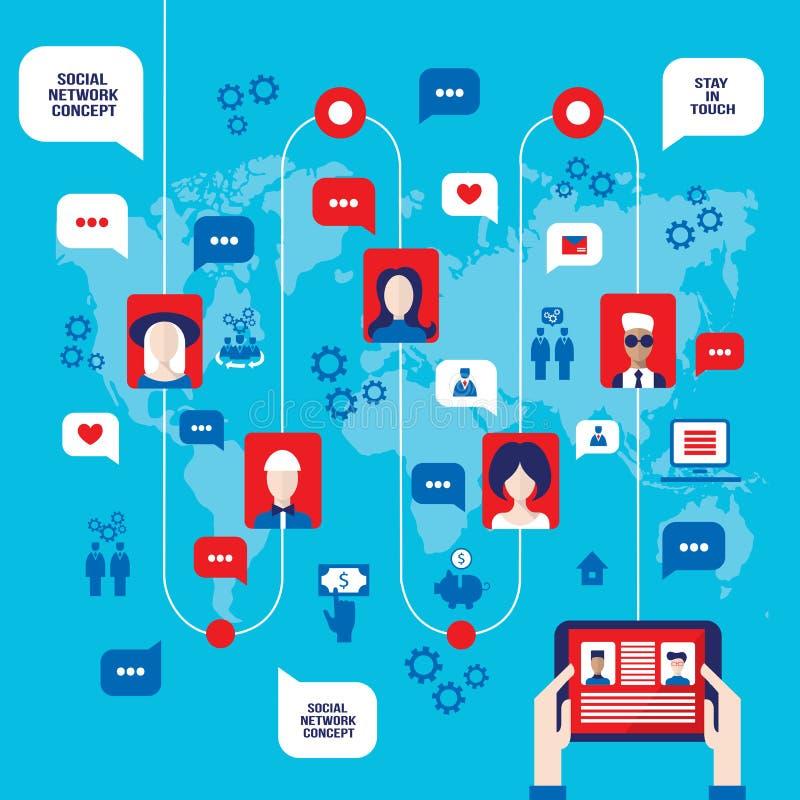 L'uomo d'affari passa la tenuta della compressa con le icone di web sul concetto della rete sociale del fondo della mappa di mond illustrazione di stock