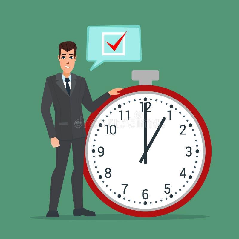 L'uomo d'affari pensa sull'elenco attività, lista di controllo, vettore del cronometro royalty illustrazione gratis