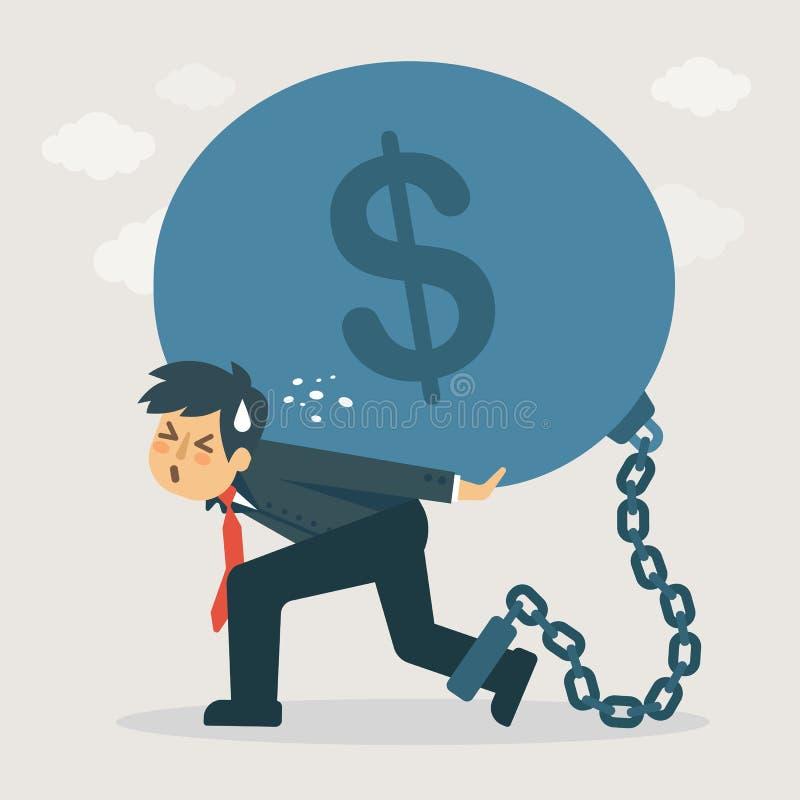 L'uomo d'affari porta il debito Illustrazione finanziaria di concetto illustrazione vettoriale