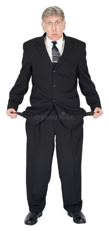 L'uomo d'affari povero, si è rotto, povero, nel debito, ha bisogno dei soldi isolati fotografie stock