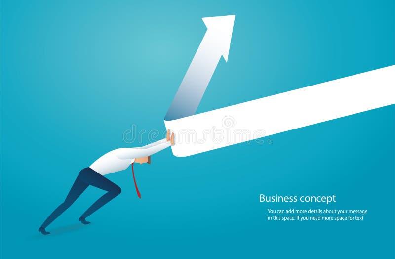 L'uomo d'affari prova a sollevare la freccia sull'illustrazione di vettore di concetto di affari royalty illustrazione gratis