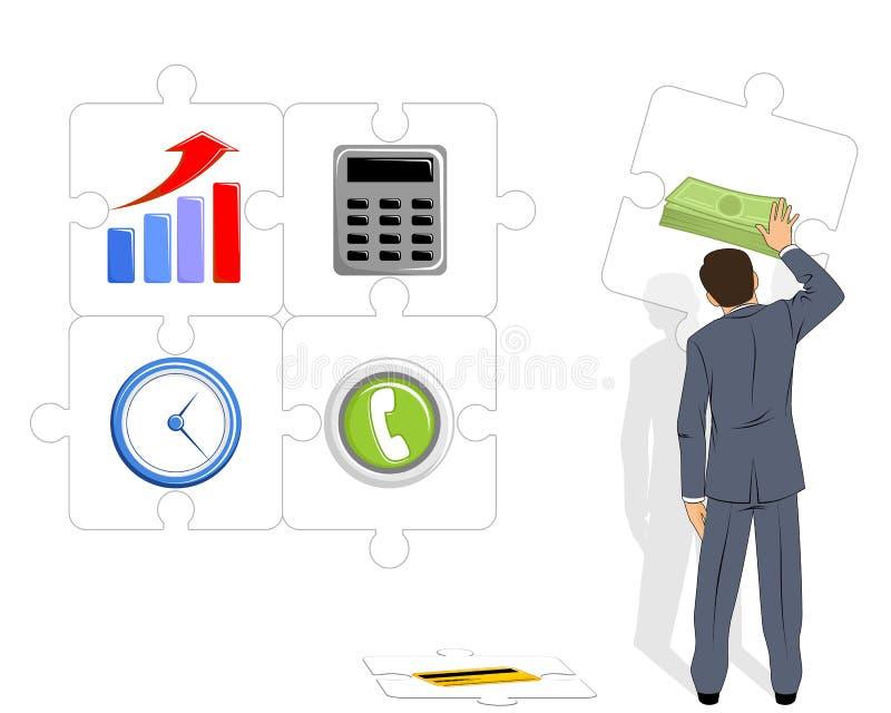 L'uomo d'affari raccoglie i puzzle illustrazione di stock