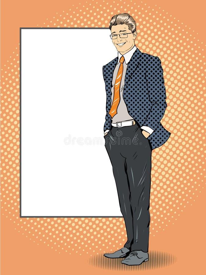 L'uomo d'affari resta accanto al bordo bianco in bianco Illustrazione di vettore di stile dei fumetti di Pop art retro Metta il v royalty illustrazione gratis