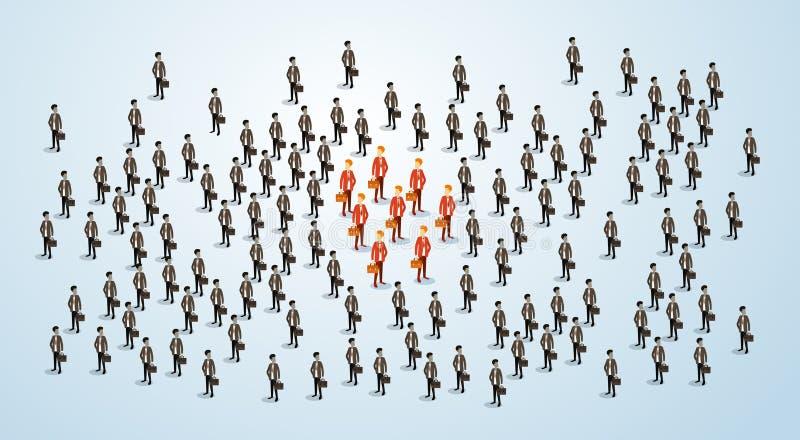 L'uomo d'affari rosso Group Team Human Resource Recruitment Candidate, gente di affari ammucchia il concetto 3d di noleggio isome illustrazione vettoriale