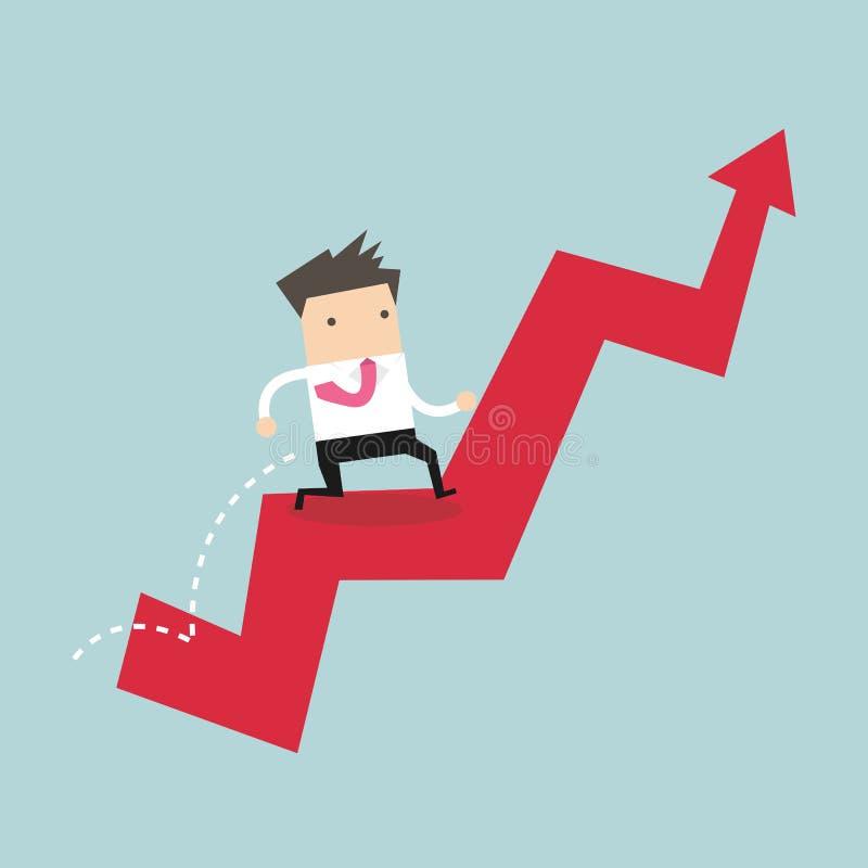 L'uomo d'affari salta sopra il grafico crescente illustrazione vettoriale