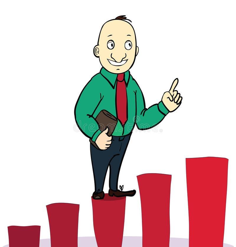 L'uomo d'affari salta sopra il grafico crescente Concetto immagine stock libera da diritti