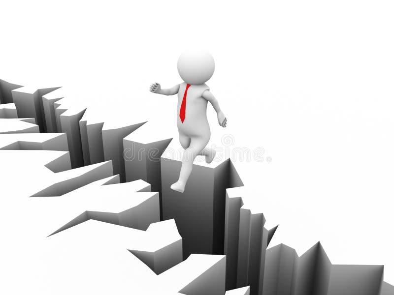 l'uomo d'affari 3d salta sopra la spaccatura a terra della crepa della terra illustrazione di stock