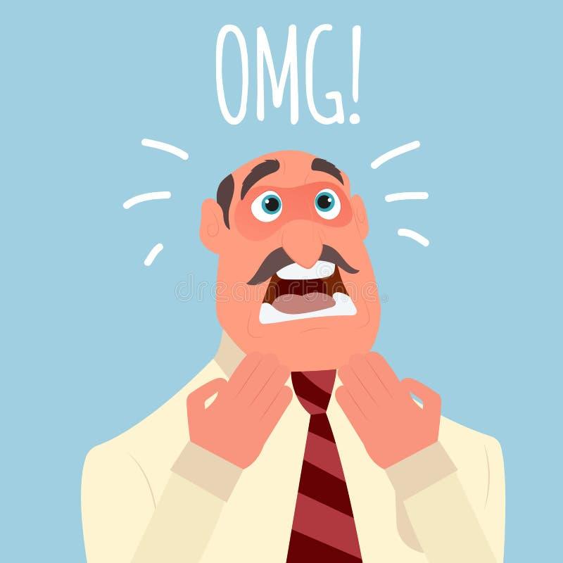 L'uomo d'affari soffre l'orrore o la depressione di timore di emozione illustrazione di stock