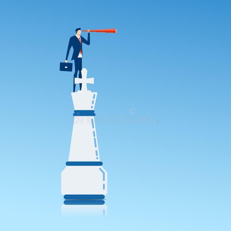 L'uomo d'affari sopra il pezzo degli scacchi di re facendo uso del telescopio che cerca il successo, opportunità, affare futuro t illustrazione di stock