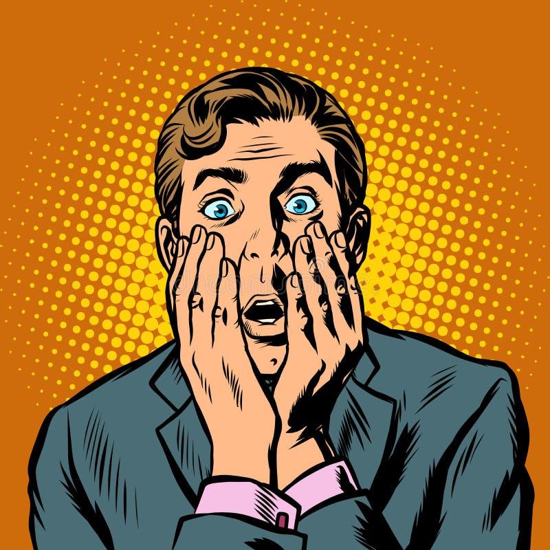 L'uomo d'affari sorpreso dell'uomo ha coperto il suo fronte di sue mani illustrazione vettoriale