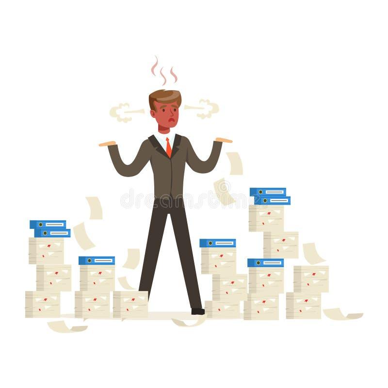 L'uomo d'affari sovraccarico con la condizione del viso arrossato è circondato dalle pile di carte e di vapore che escono dal suo illustrazione vettoriale