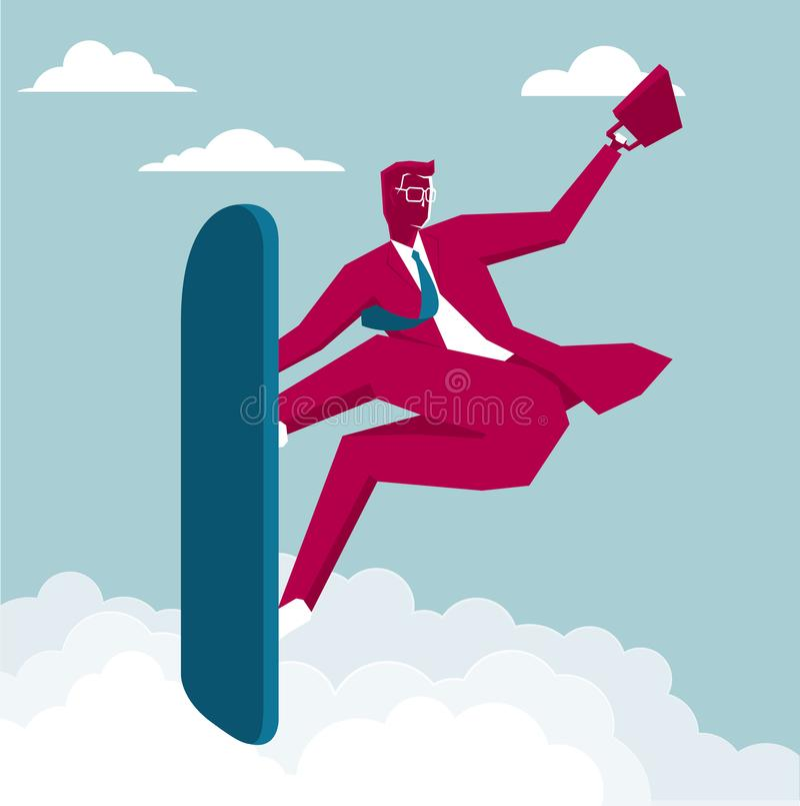 L'uomo d'affari sta praticando il surfing royalty illustrazione gratis
