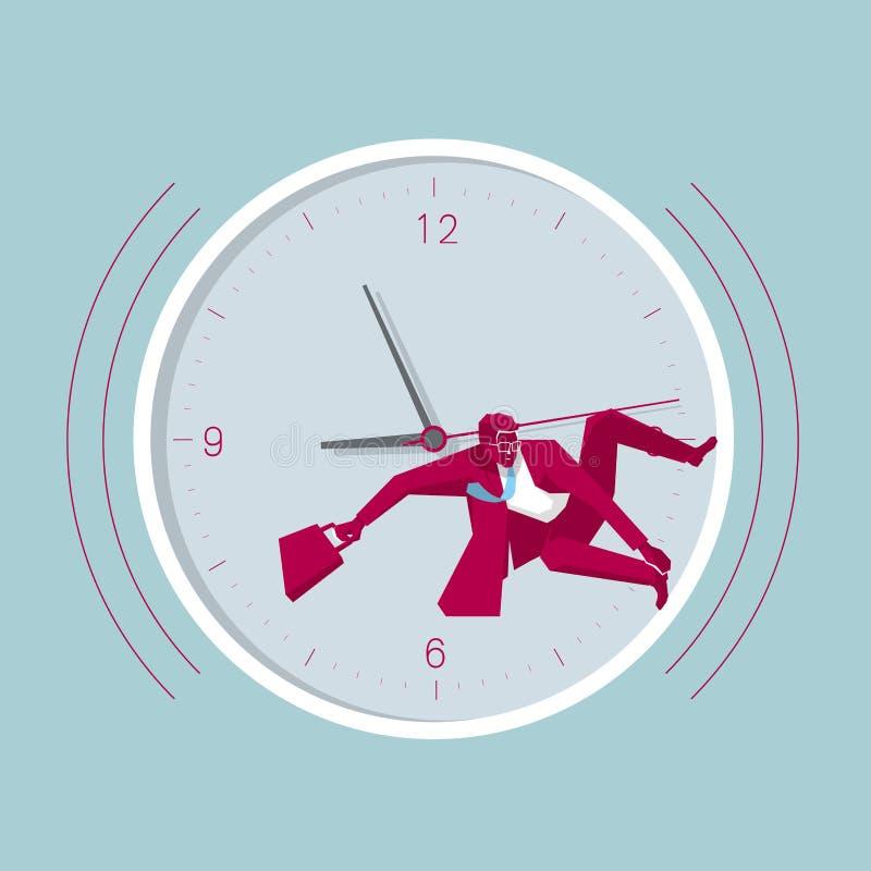 L'uomo d'affari sta praticando il surfing nell'orologio illustrazione vettoriale