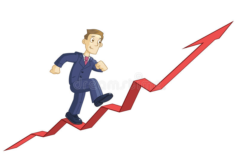 L'uomo d'affari sta scalando il grafico commerciale royalty illustrazione gratis
