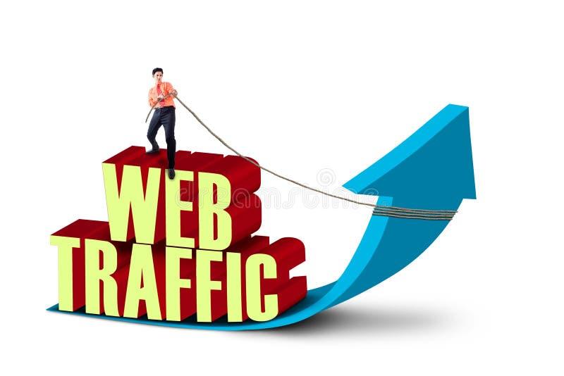 Traffico di web di tirata dell'uomo d'affari royalty illustrazione gratis