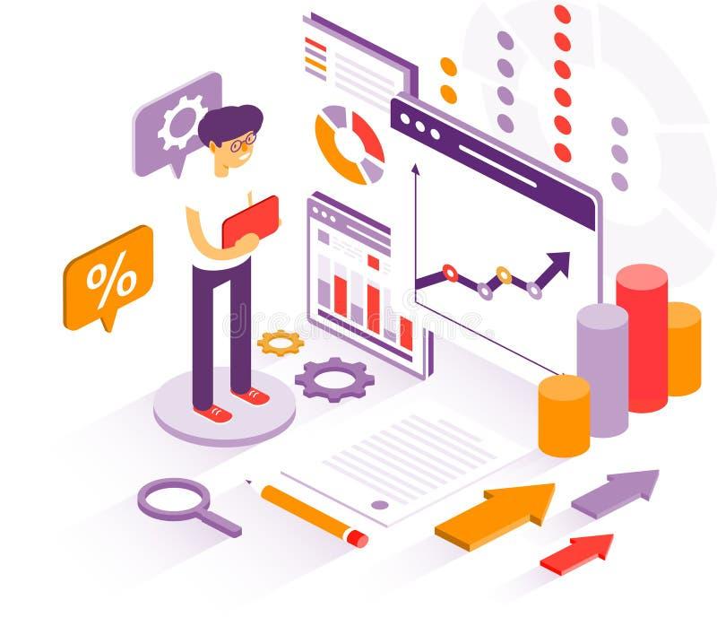 L'uomo d'affari studia i grafici per il rapporto annuale Grafici di studi dell'uomo d'affari illustrazione di stock