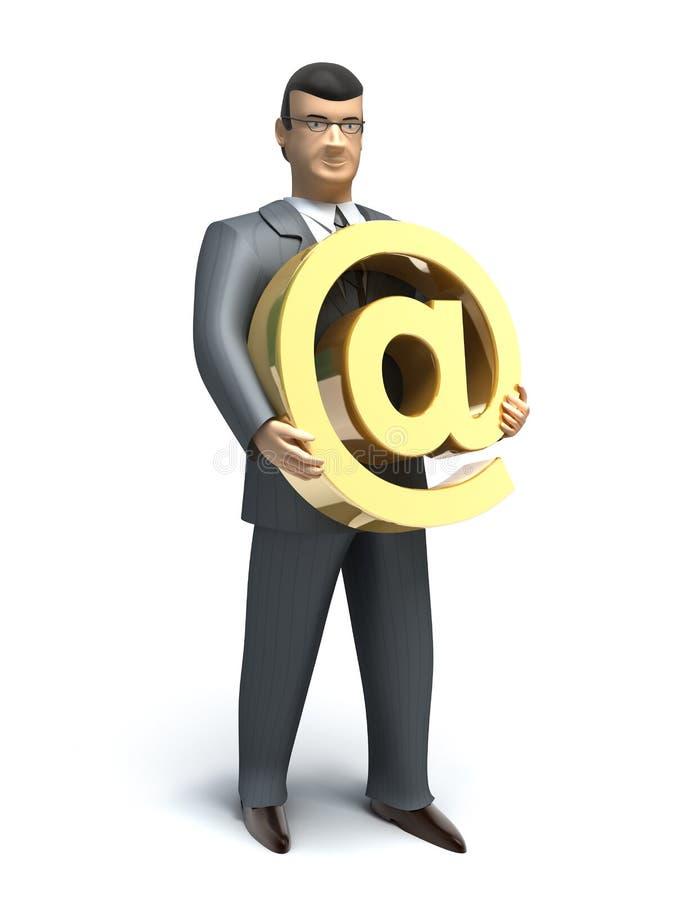 L'uomo d'affari tiene un simbolo del email illustrazione vettoriale