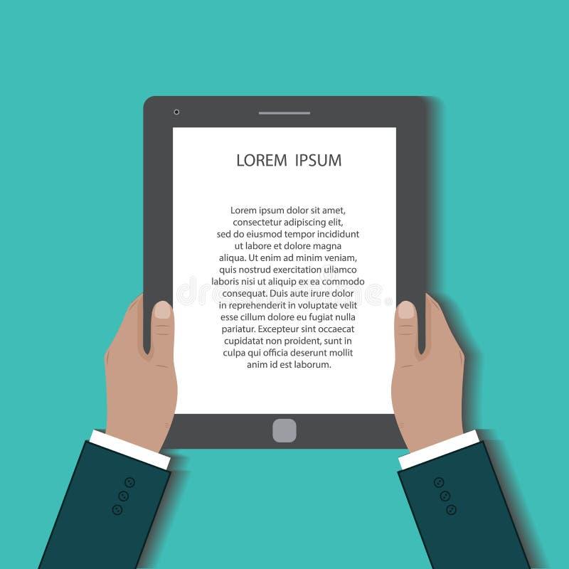 L'uomo d'affari utilizza il pc digitale della compressa illustrazione vettoriale