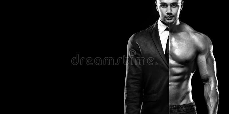 L'uomo d'affari in vestito e nella giovane forma fisica muscolare mette in mostra l'uomo Allenamento nella palestra di forma fisi immagine stock