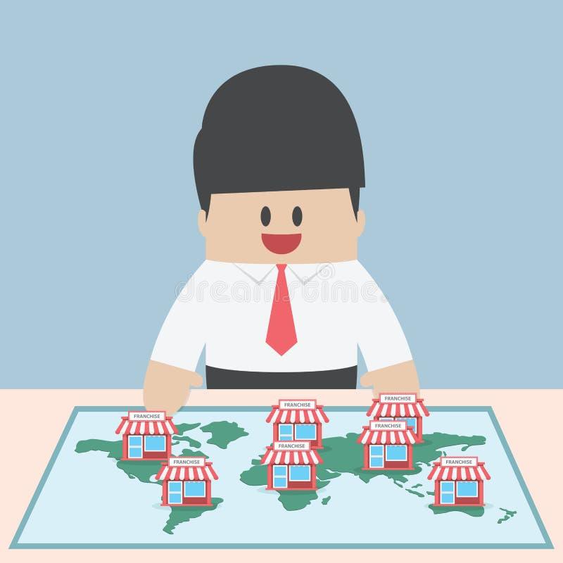 L'uomo d'affari vuole ampliare il suo affare, concetto di concessione illustrazione vettoriale