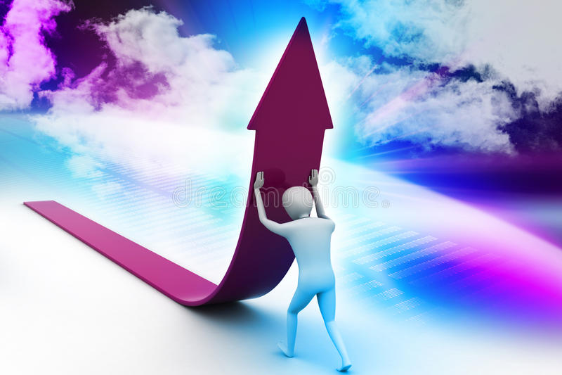 l'uomo 3d crea la crescita di vendite illustrazione di stock