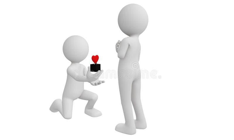 l'uomo 3d propone la sua amica con l'anello rosso del cuore royalty illustrazione gratis