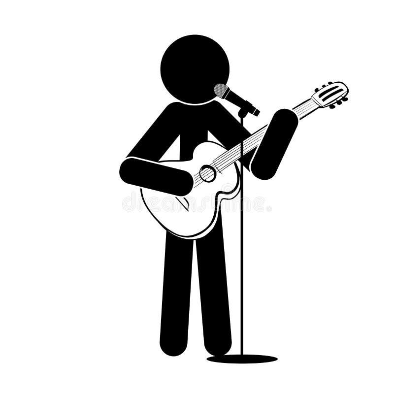 L'uomo del bastone sta, gioca la chitarra, canta in un microfono royalty illustrazione gratis