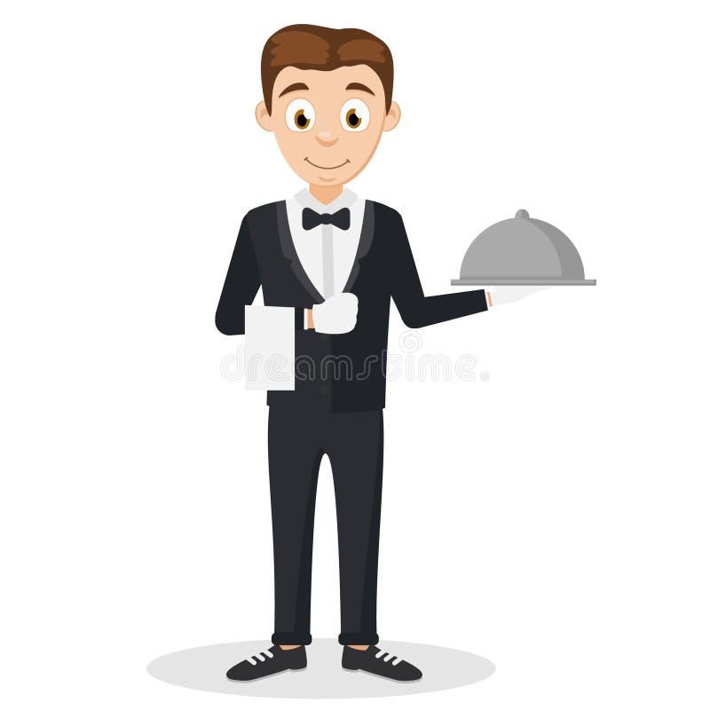 L'uomo del cameriere in un vestito che tiene un vassoio su un bianco illustrazione di stock
