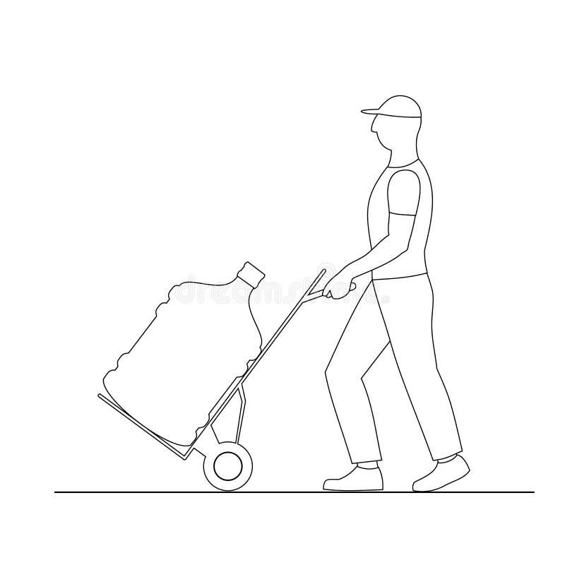 L'uomo del caricatore dell'illustrazione di vettore muove la grande bottiglia dell'acqua sul carrello, isolata su fondo bianco illustrazione di stock
