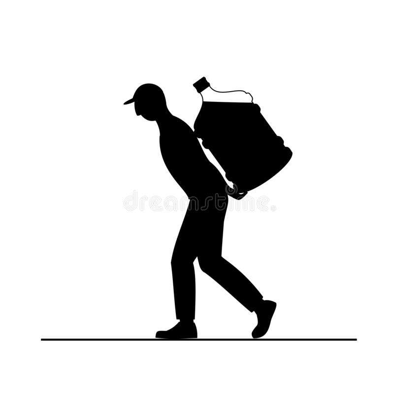L'uomo del caricatore muove la grande bottiglia dell'acqua sul carrello, isolata su fondo bianco illustrazione di stock