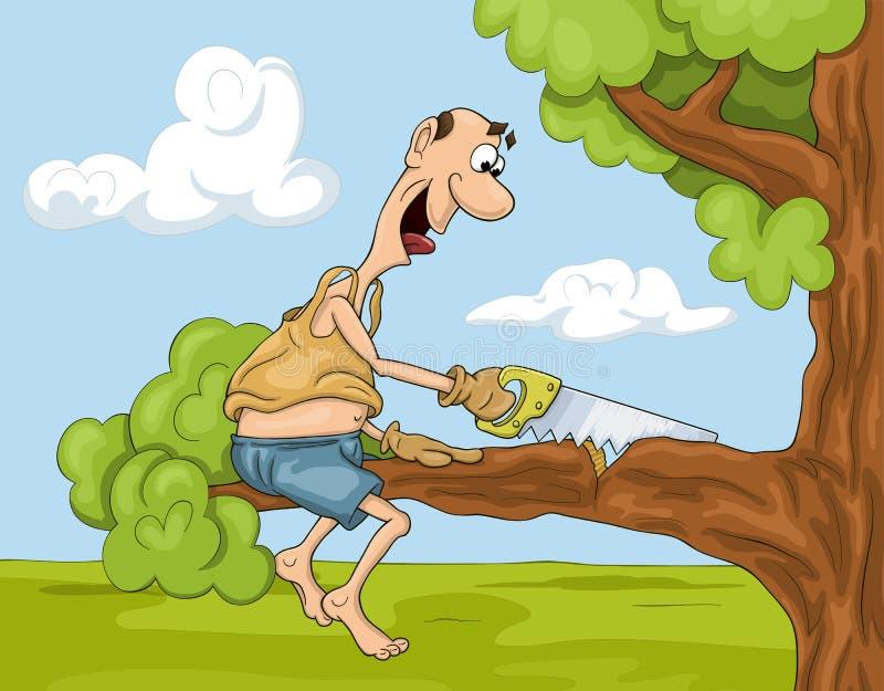 L'uomo del fumetto con ha visto sull'albero illustrazione di stock