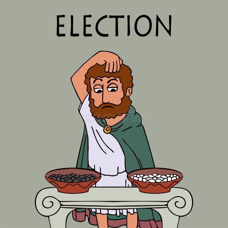L'uomo del greco antico sceglie chi per votare per royalty illustrazione gratis