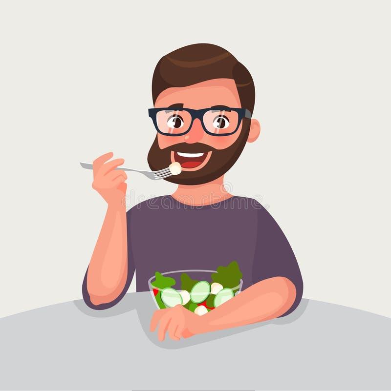 L'uomo della barba dei pantaloni a vita bassa sta mangiando un'insalata Concetto vegetariano di nutrizione e dello stile di vita  illustrazione di stock