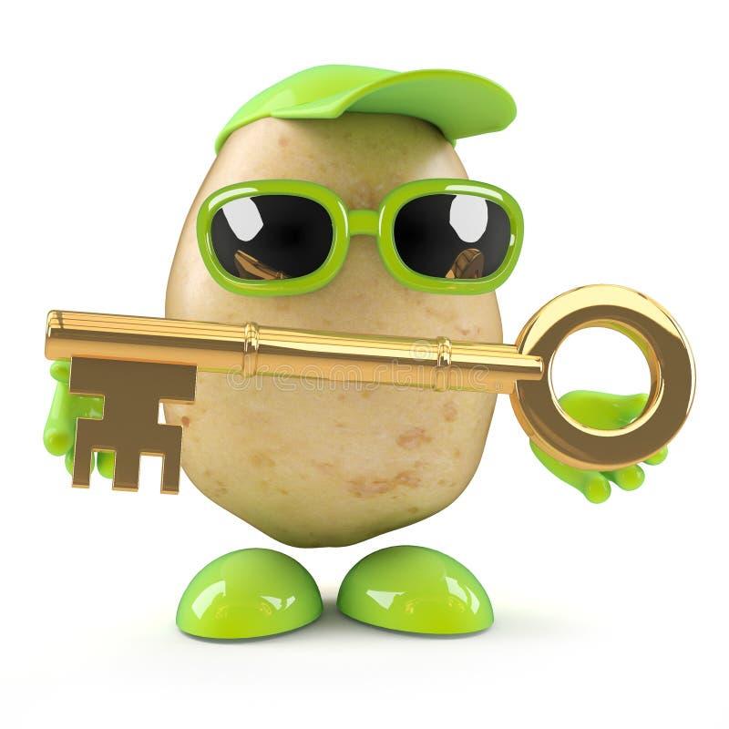 l'uomo della patata 3d ha una chiave dell'oro royalty illustrazione gratis
