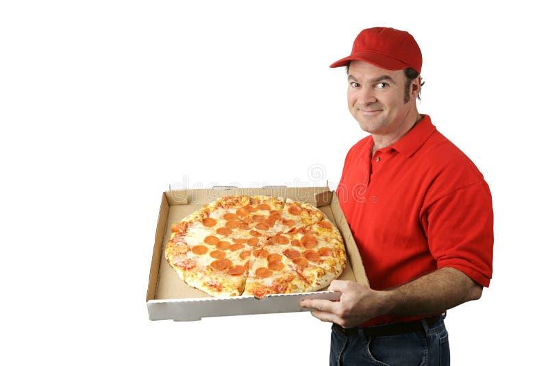 L'uomo della pizza trasporta fotografia stock