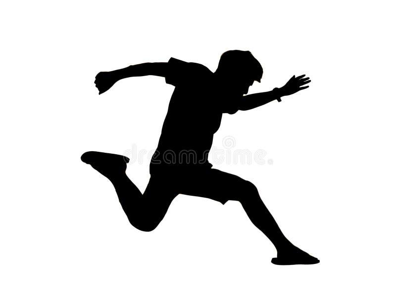 L'uomo della siluetta salta l'azione su fondo bianco illustrazione vettoriale
