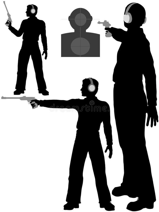 L'uomo della siluetta spara la pistola dell'obiettivo illustrazione di stock