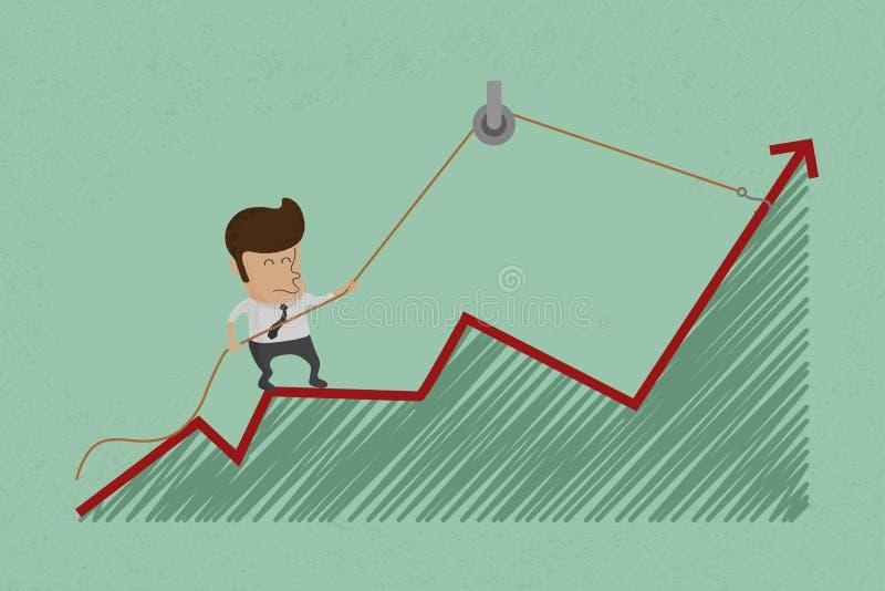 L'uomo di affari fa per rimbalzare la crescita illustrazione di stock