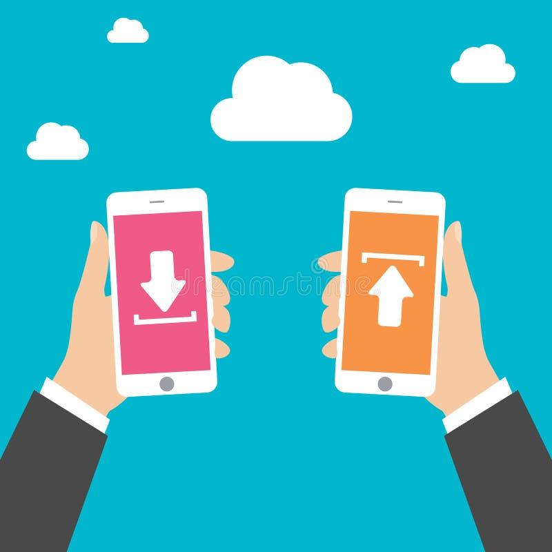 L'uomo di affari passa lo Smart Phone della tenuta con il download e carica, vector l'illustrazione royalty illustrazione gratis