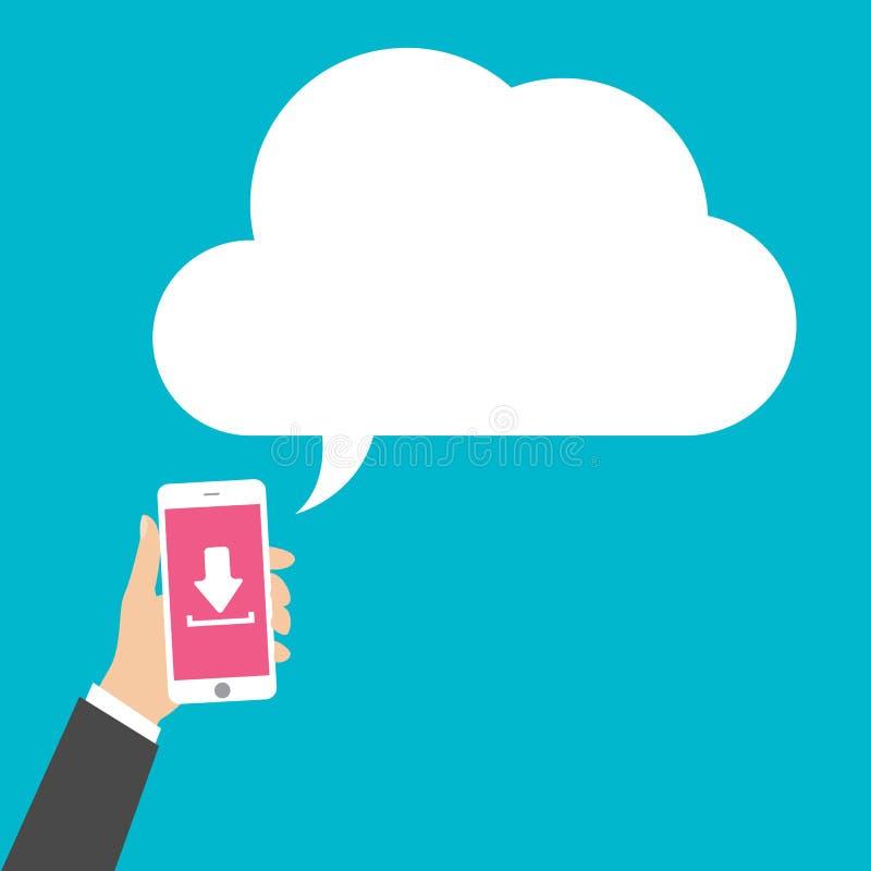 L'uomo di affari passa lo Smart Phone della tenuta con il download, illustrazione di vettore illustrazione di stock