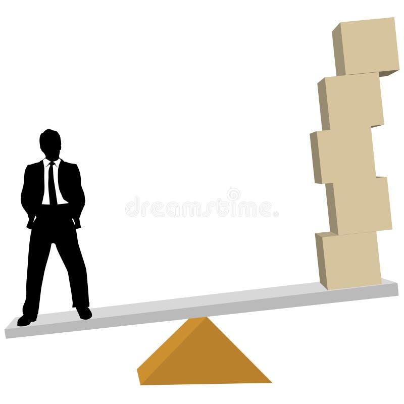 L'uomo di affari pesa la scala delle caselle di trasporto delle soluzioni illustrazione di stock