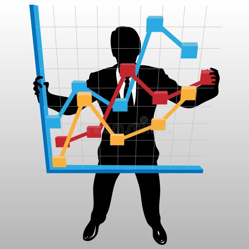 L'uomo di affari tiene il diagramma di sviluppo finanziario di profitto illustrazione di stock