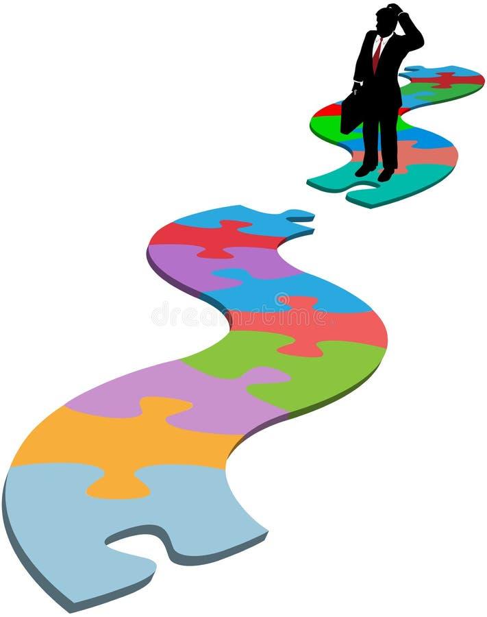 L'uomo di affari trova il percorso mancante di puzzle della parte illustrazione vettoriale