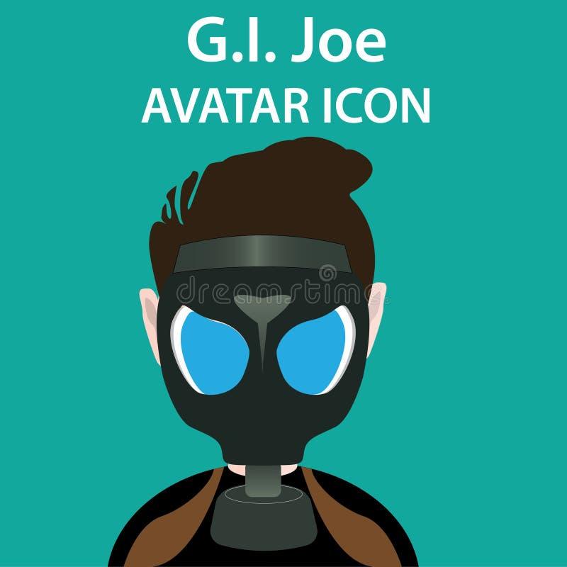 L'uomo di azione, icona dell'avatar del soldato con la maschera antigas, l'illustrazione, il ritratto, l'ENV 10, lo sguardo a del illustrazione vettoriale