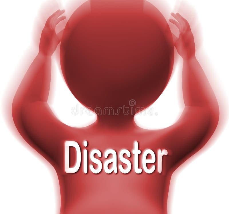 L'uomo di disastro significa la calamità o la catastrofe di crisi illustrazione di stock